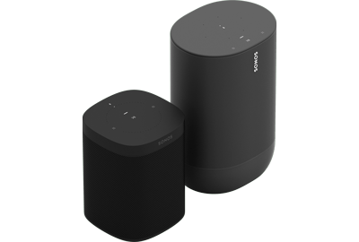 Sonos Move & One Smart Speakers - Bluetooth & WiFi Enabled - Battery-Powered - With Google Assistant & Amazon Alexa - For Outdoors & Indoors - Black