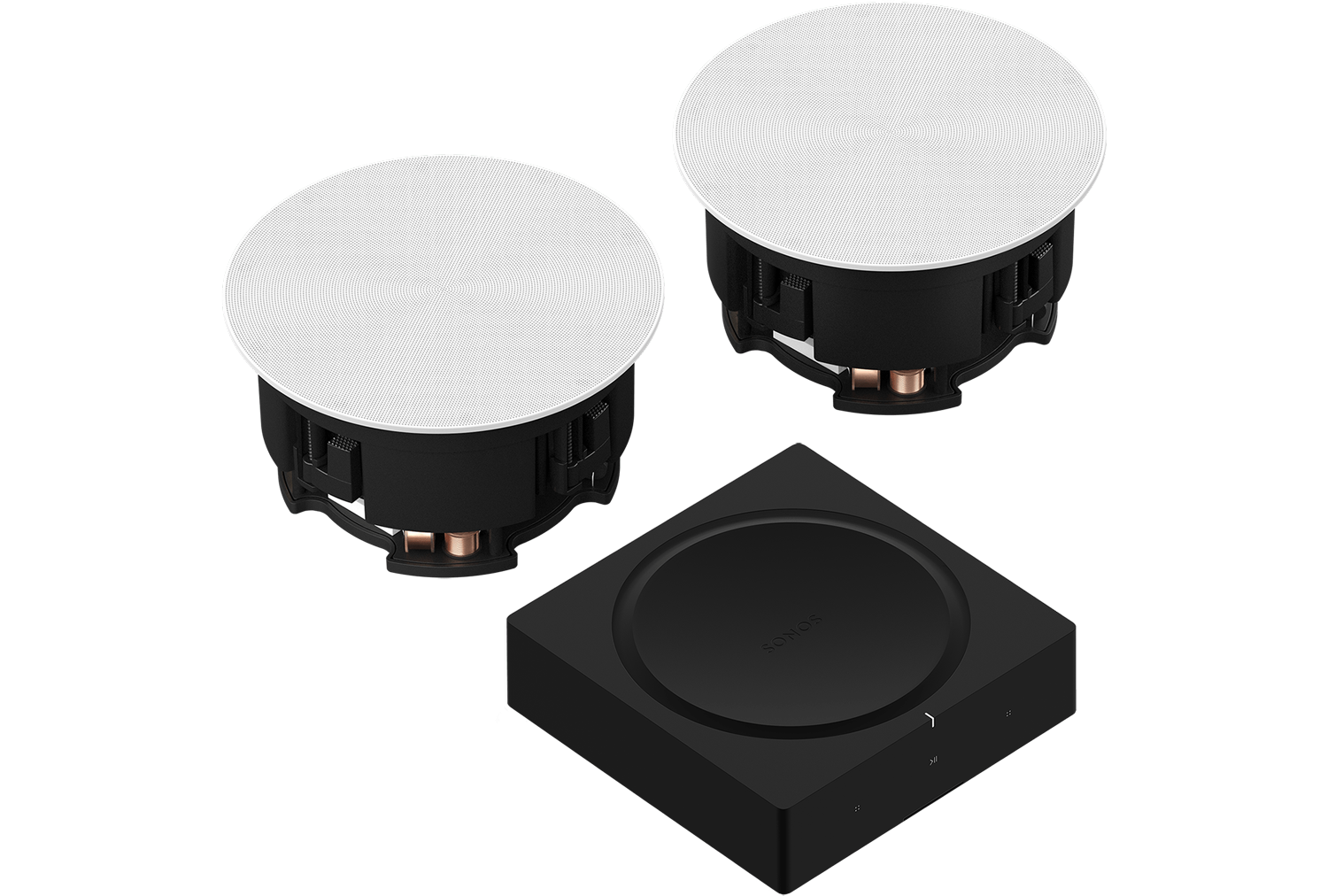 In-Ceiling Speakers & Amp Set - Architectural Speakers - Customizable Grilles - Sonos