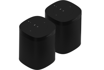 Sonos One Smart Speakers (Gen 2) - Pair - Wireless Speaker - Google Assistant & Amazon Alexa Voice Control - AirPlay Compatible - Black - Sonos