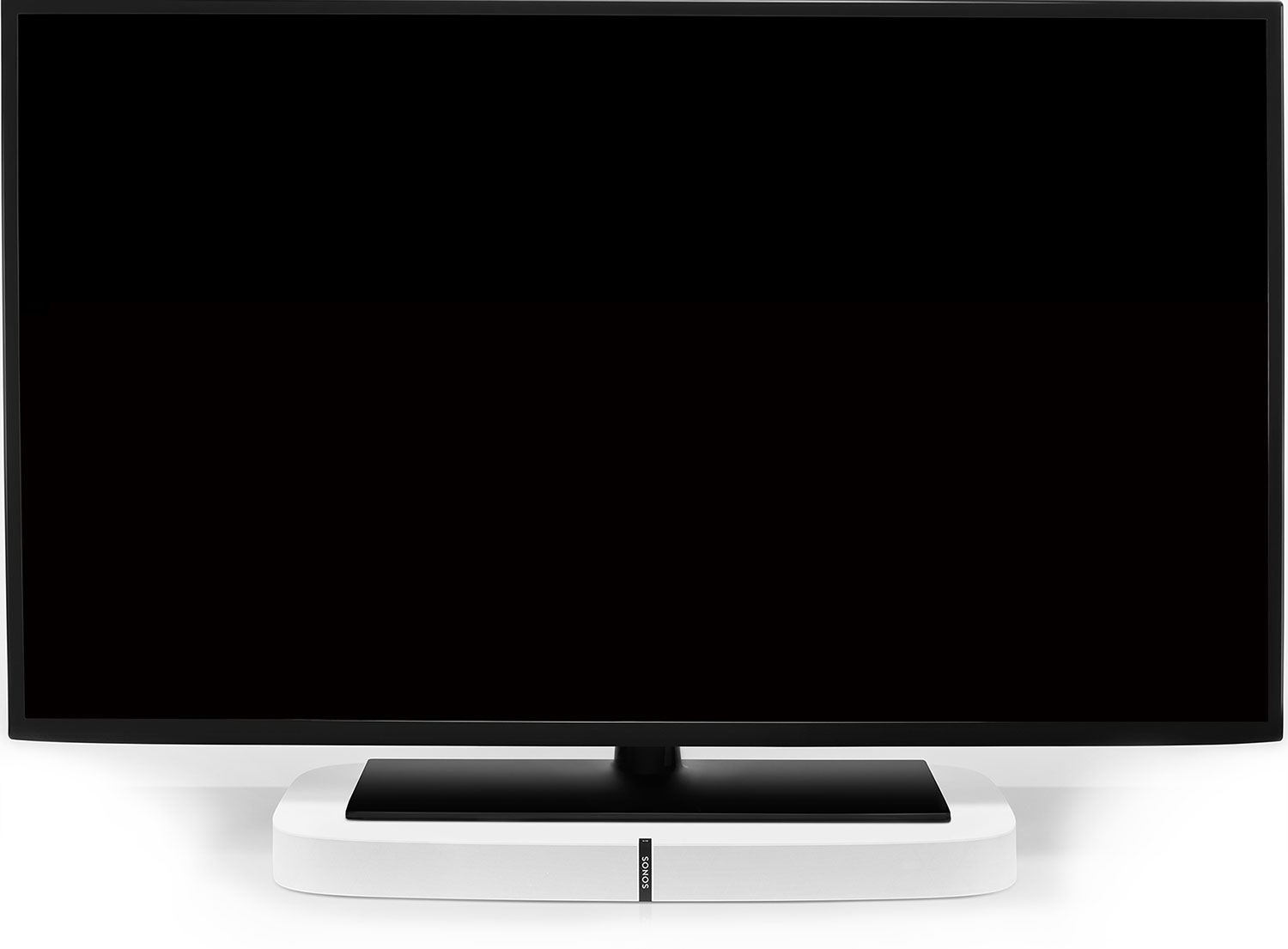 White Playbase supporting a TV